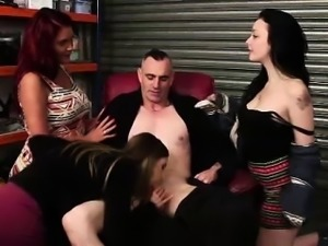 Naked guy gets blowjob from CFNM British girls