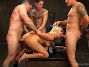 blonde babe took four cocks at once