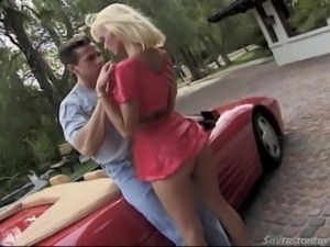 hot blonde gives and takes over sportscar @anita blond collection