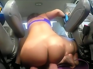 A couple of hot Latinas are in the back of a van with a guy. They are doing a...