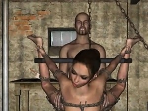 Tied up and hanging 3D babe getting fucked hard