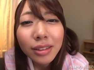 japanese hottie plays with cum in her mouth