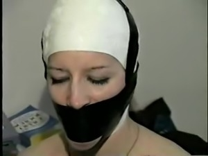 Bathing cap tape gagged