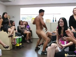 Stripper is dancing for some women