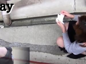 Asians piss in alleyway
