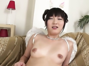 Teen Maria Kotobuki with bald bush takes sex toy in her pussy