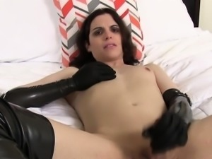 Femboy fucks buttplug and wanks her cock