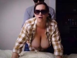 Slutty gal with big boobs rammed from behind
