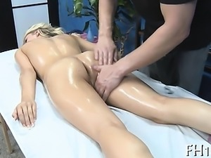 Marvelous playgirl gets a hard fuck after a sensual massage