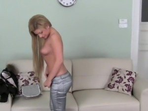 Agreeable darling rides on dudes massive cock like a pro