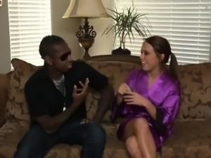 Petite Haley gives a horny black stud a soapy massage