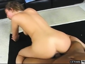 Enchanting young girl with a sublime ass fucks a black pole POV style