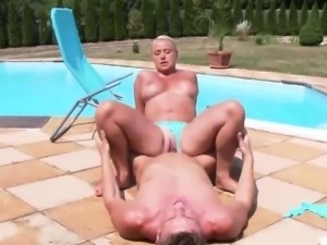 Surprised looker in lingerie is geeting pissed on and rode