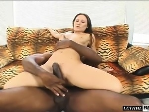 Slim brunette screams with pleasure while fucking a large black dick