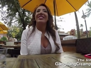 Gangbang Creampie big booty babe gets railed