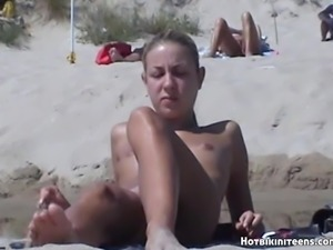 Blonde Milf Nude Beach Voyeur Hidden Cam Video