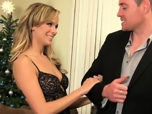 Beautiful blonde housewife cheating on her husband with a young stud