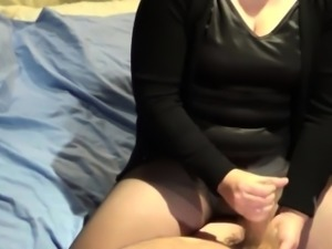 She makes him unload his hot load of cum