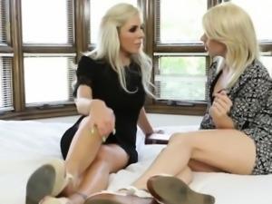 Tara Morgan is surprised by a hot blonde MILF Nina Elle
