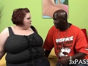 Man fingers and fucks cum-hole of one wicked fat woman