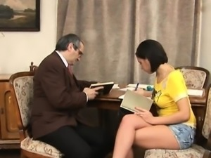 Sweetheart is giving mature teacher a blowjob session