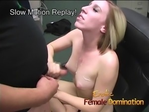 Blonde office slut dominates her future boss's cock until he