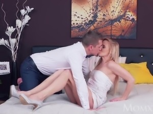 MOM Blonde adores thick cock in shaved pussy