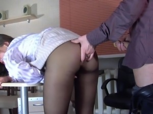 torn pantyhose in the office