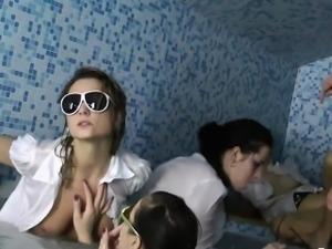 Reverse gangbang with smoking hot models