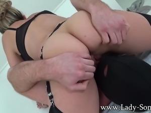 British MILF jerks strangers cock titfuck handjob