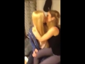 three lovely amateur lesbians kissing each other