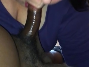 Old BBW sucks black dick