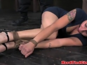 Bonded redhead submissive getting spanked