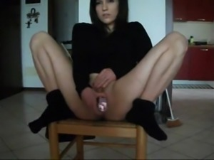 Hot girl squirts from a dildo