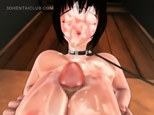 Chesty anime sex bomb giving tit job gets facialized