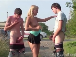 Group of teens with a cute blonde girl having PUBLIC sex