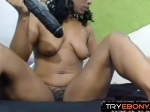 Hot ebony mom Anita with hairy pussy