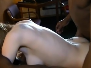 Stacked and horny blonde enjoys strong orgasms between two