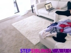 Step Siblings Caught - Brother fucks sister caught in POV