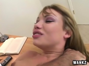 Delightful Maya seduces her boss and has him pounding her fiery peach