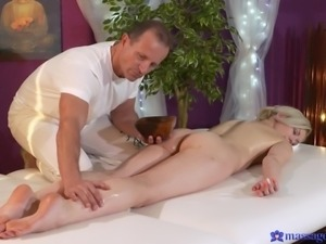 Watch as he helps her release all of the stress from her body in more ways...