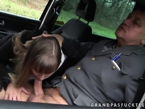 Cute young chick engages in an intense sexual affair with a horny cop