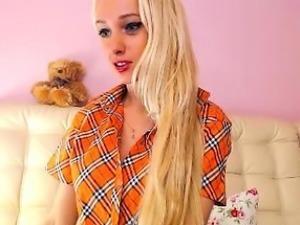 Ravishing blonde schoolgirl in white stockings flashes her