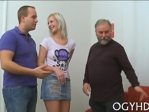 Lovely young sweetie is fascinated to ride old hard shlong