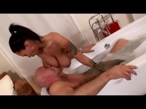 Hanging boobs, Fun in bath with two incredible tits