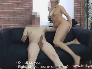 Sex-starved blonde enjoys having her tight slit stuffed with this cock