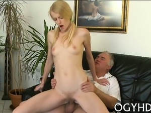 Steaming young playgirl gets her pussy glad by old crock