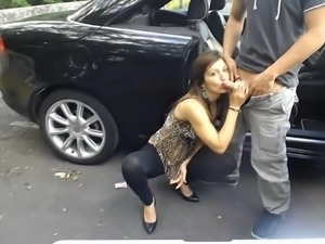 Dirty girl in a public parking flashing caught blow