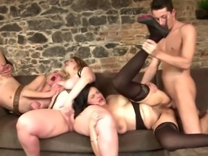 Mature MILFs group fucked by young fuckers