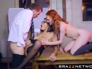 Sexy teacher and student sharing a prick